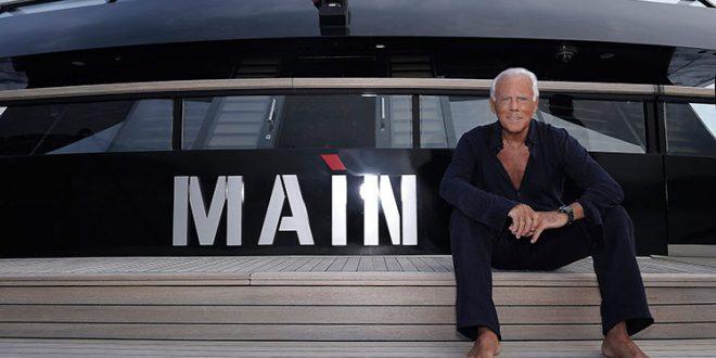 Джорджо Армани на яхтата си Main